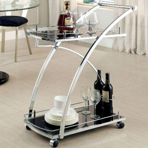 Contemporary Tempered Glass Recreation Room Serving CartCM-AC227