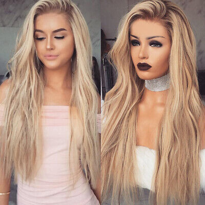 Women Synthetic Long Hair Large Curly Front Wig Body Wavy Full Wigs Ombre -