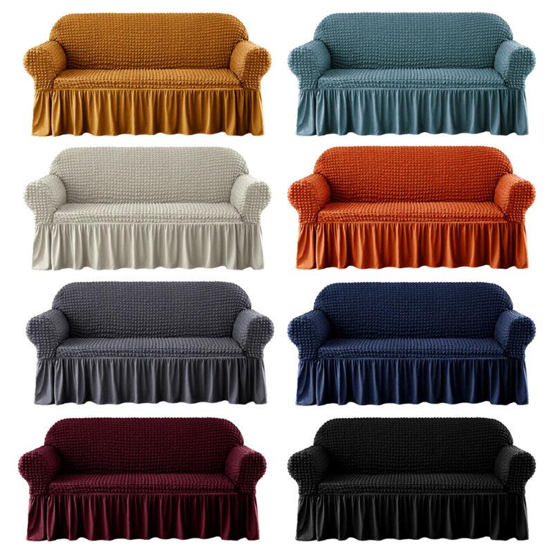 1/2/3/4 Seater 3D Bubble Lattice Sofa Covers Spandex Slipcover Protector