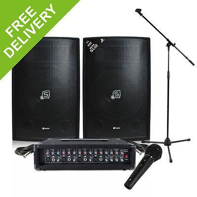 Band PA System 600W 4-Ch USB Mixer Amp Speakers DJ Studio Live Music Set Karaoke