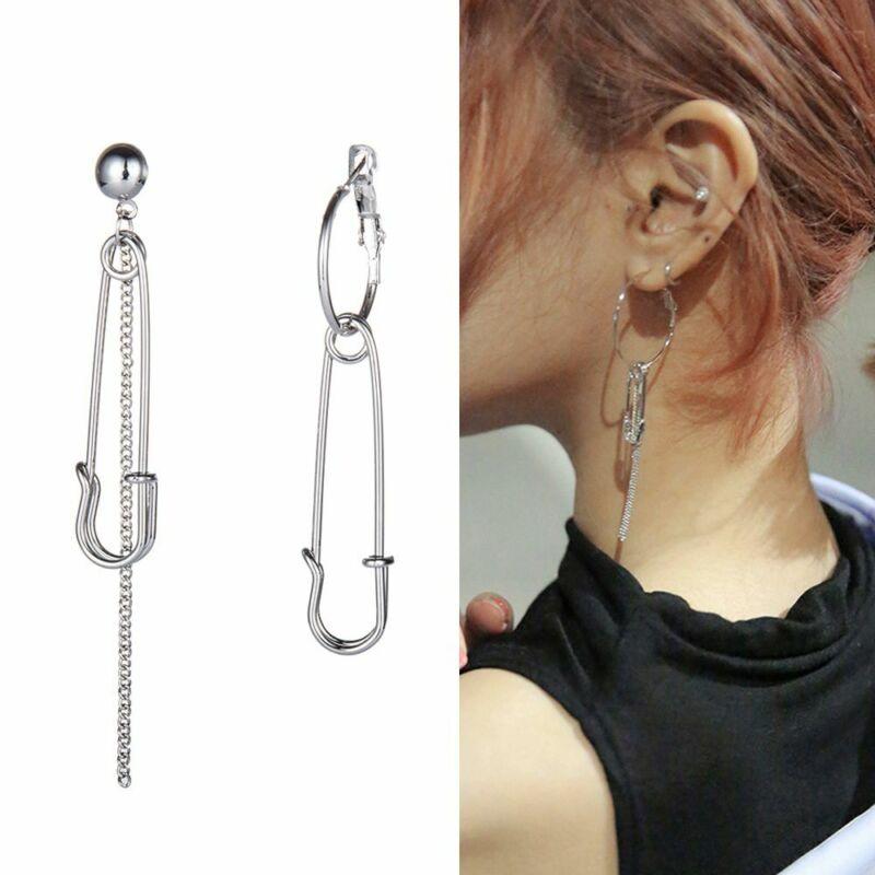 Asymmetric Fashion Tassel Safety Pin Earrings Dangle Chain E