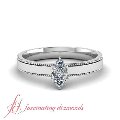 .55 Ct Marquise Cut SI2 Diamond Solitaire Two Side Milgrain Engagement Ring GIA