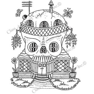HALLOWEEN Skeleton House Cling Unmounted Rubber Stamp Class Act Inc HA253L - Class Halloween Crafts
