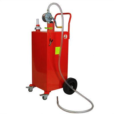 Red 30 Gallon Gas Caddy Tank Storage Drum Gasoline Diesel Fuel Transfer W Wheel