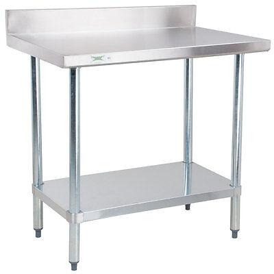 24 X 36 Stainless Steel Work Prep Shelf Table Commercial 4 Backsplash Nsf