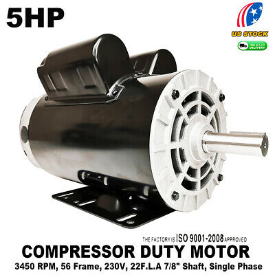 5 Hp Compressor Duty Electric Motor 22amp 1ph 3450 Rpm 56 Frame 78 Shaft 230v