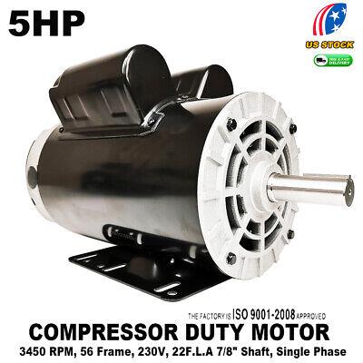 5 Hp Compressor Duty Electric Motor 22amp 1ph 3450 Rpm 56 Frame 78 Shaft 230v