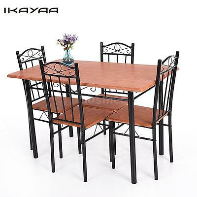 5 Piece Dining Table Set 4 Chairs Wood Steel Kitchen Breakfast Furniture C9T3