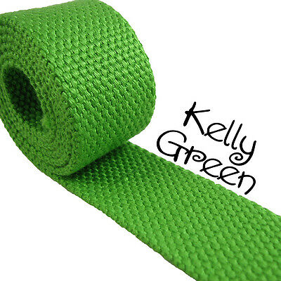 "1 Yard Kelly Green 1.25"" Medium Heavy Weight Cotton Webbing  for sale  Shipping to India"