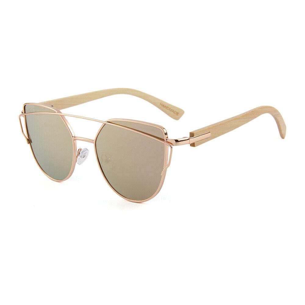 Damen Sonnenbrille, Holzbügel, verspiegelt, polarisiert, farbig