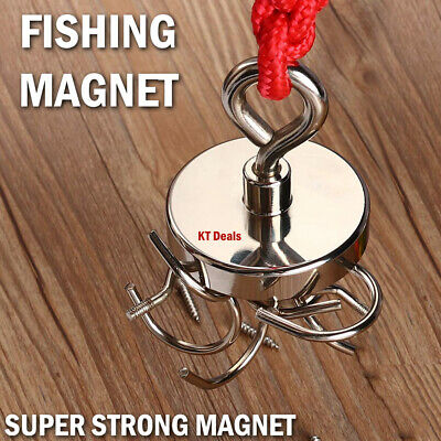 Super Strong Fishing Magnet Pulling Force Round Neodymium With Hook Hanger Disc