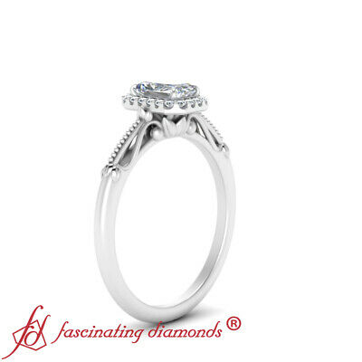 1 Carat Radiant Cut Diamond Halo Floral Shank Engagement Ring In 14K White Gold 2