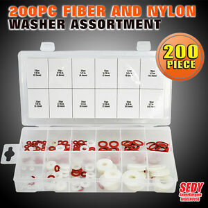 New 200PC Fiber and Nylon Washer Assortment Professional Industry Tool SDY-19001
