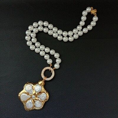 22'' White Sea Shell Pearl Necklace Coin Pearl Gold Plated Flower Pendant White Coin Pearl Pendant