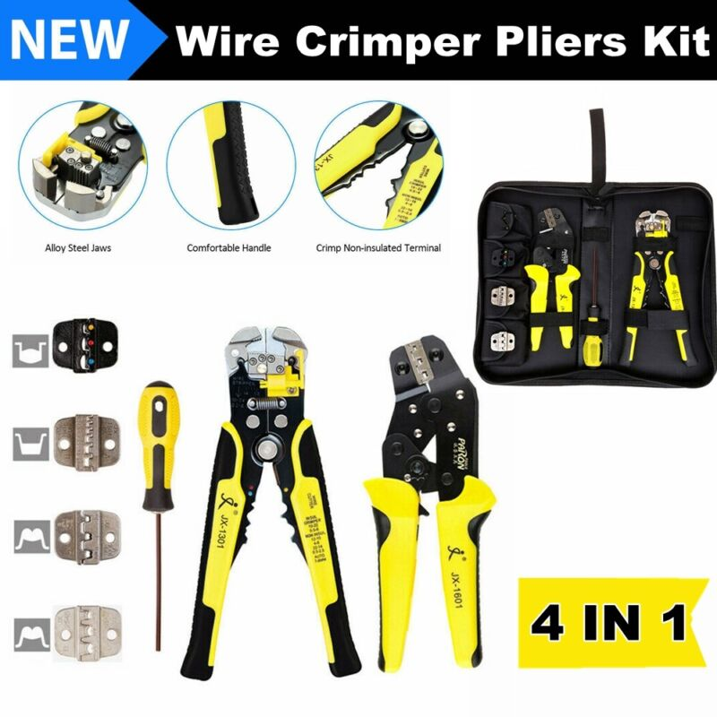 4 In 1 Pro Ratcheting Wire Terminal Crimper Crimping Pliers Terminals Tool Kit