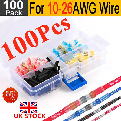 100X Solder Seal Heat Shrink Electrical Butt Wire Connector Waterproof Terminal