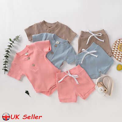 Summer Newborn Baby Girl Boy Clothes Romper Tops Jumpsuit  Shorts Pants Outfits