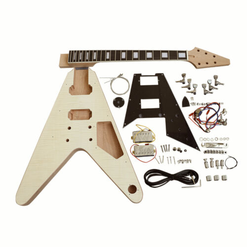 Coban Guitars DIY Guitar Kit FV1B Flamed Maple Chrome Hardware Black Pickguard