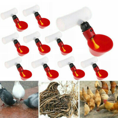 10Pc Automatic Poultry Water Drinking Cup Bird Coop Fowl Drinker Chicken Plastic