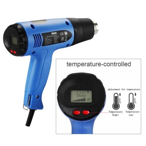 Heissluftpistole LCD Display Heissluftgebläse Heissluftfön Einstellbar 4 Zubehör