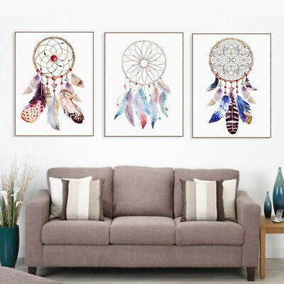 Watercolor Feather Dream Catcher Posters Nordic Home Wall Art Canvas Paintings