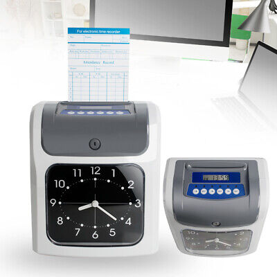 Portable Electronic Employee Time Attendance Clock Key Recorder Payroll W Cards