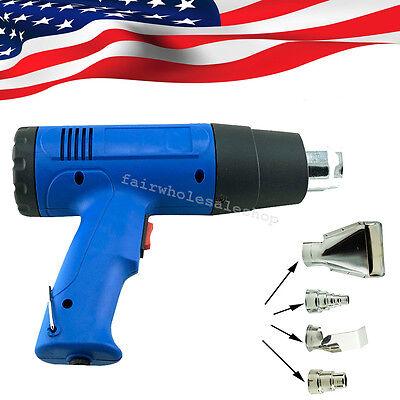 1500w Heat Gun Hot Air Wind Blower Dual Temperature 4 Nozzles Power Heater New