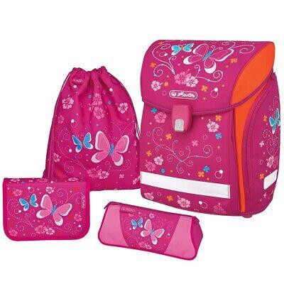 Herlitz Schulranzen Midi Plus Butterfly Ranzen Schmetterlinge pink 4-teilig