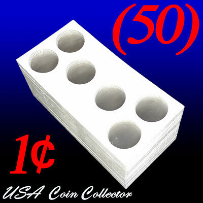 (50) 3-Hole Penny Size 2x2 Mylar Cardboard Coin Flips for Storage | Paper Holder