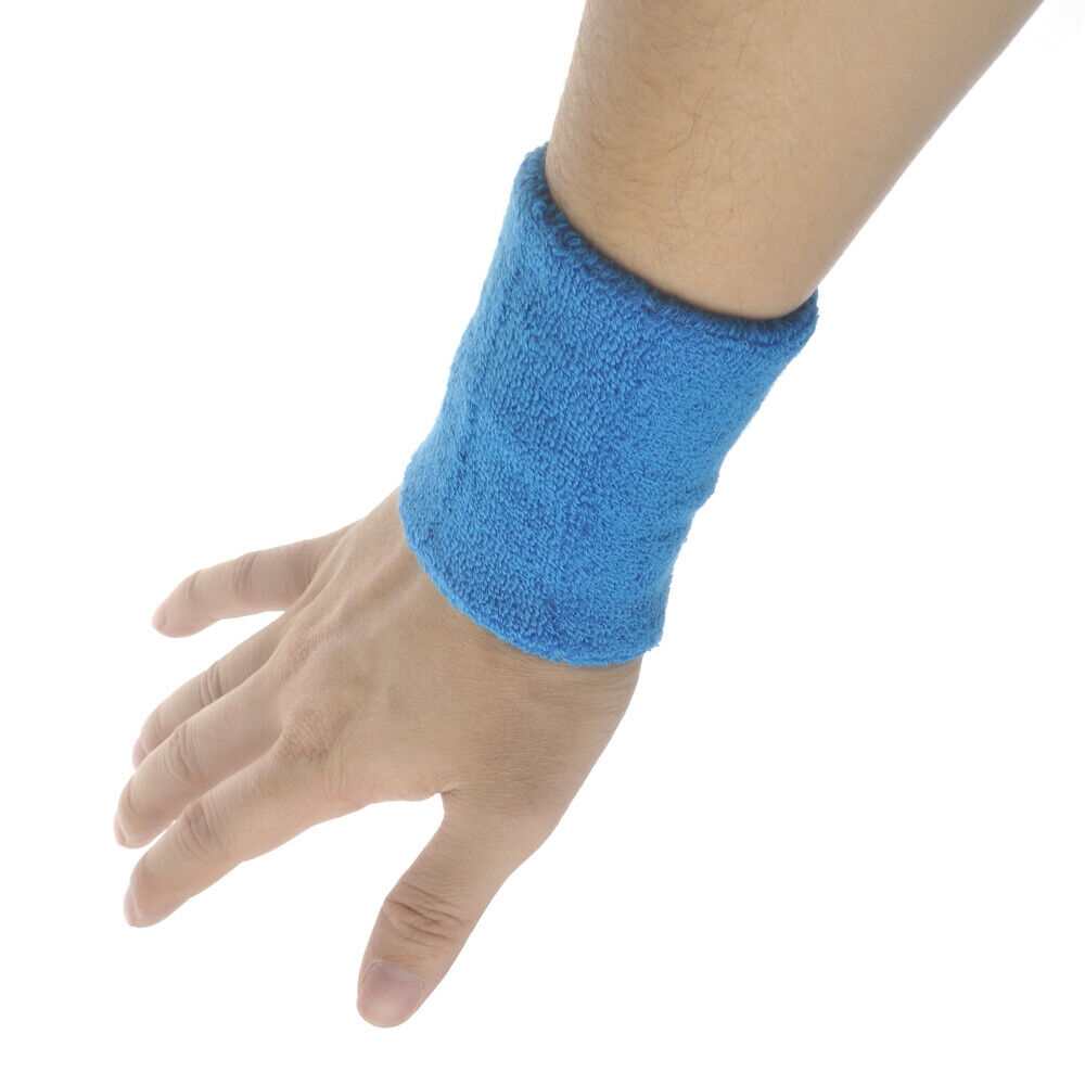 "GOGO Mens Womens Wristband Sweatband 4"" L Thick Cotton Sport"