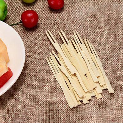 Party Skewers (Skewers Food Wooden 100Pcs Picks Dessert Fruit Forks Party Disposable)