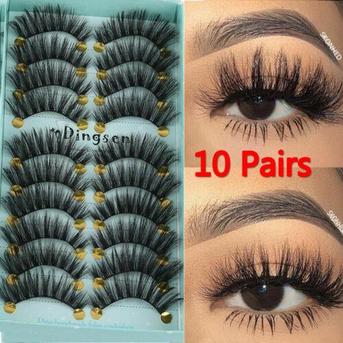 10 Pairs 3D False Eyelash Wispy Fluffy Waterproof Natural Fake Reusable Lash Eyes