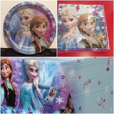 Disney Frozen Elsa Girls Birthday Party Supplies Plates Napkins Free Track New - Disney Frozen Birthday Supplies