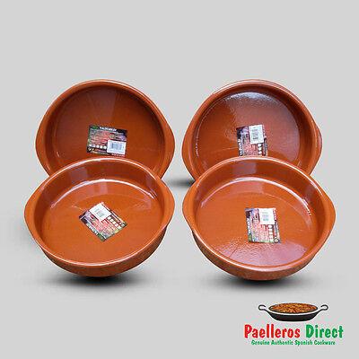 Set of 4 x 26cm Spanish Terracotta Tapas Dishes / Cazuelas