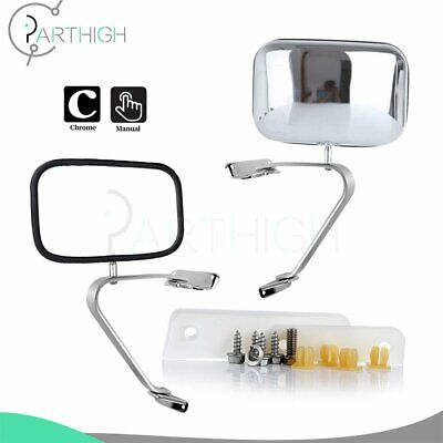 For Ford F100 F150 F250 F350 F450 Truck Manual Stainless Steel Side View Mirror