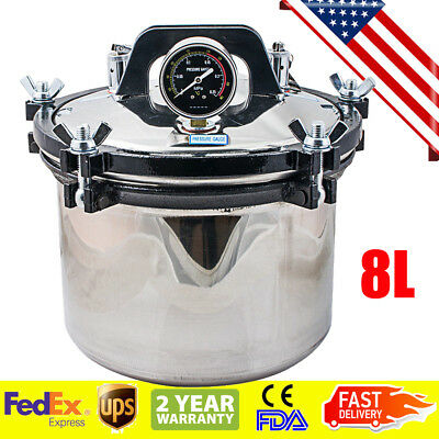 Usa 8l Portable Steam Autoclave Sterilizer Dental Medical Stainless 110v220v