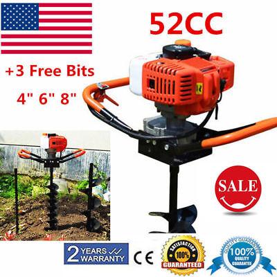 52cc Post Hole Digger 3 Bits Earth Auger Borer Fence Post Pole Tree Shrub Etc.