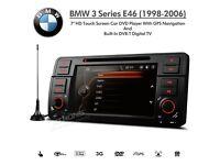"BMW 3 Series E46 7"" HD Double Din SatNav Car DVD USB Aux Stereo with Digital TV"