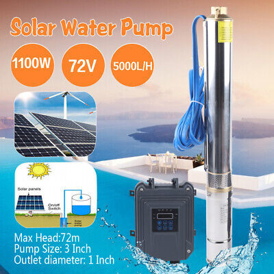 3 Dc Deep Bore Well Solar Water Pump 72v 1.5hp Submersible Mppt Controller Set