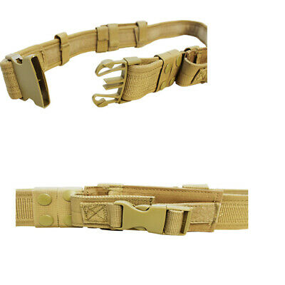 Molle Tactical Utility Belt Combat Police Swat M9 2 Pistol Mag Pouch-tan