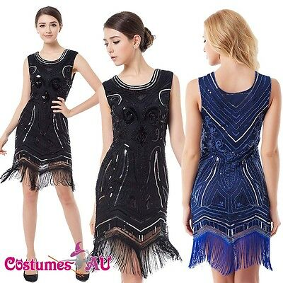 Ladies Deluxe 20s Roaring 1920s Flapper Costume Sequin Pearls Outfit Fancy Dress - Roaring 20 Outfits