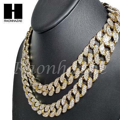 Iced Out 14K Gold Pt 15Mm 8 5    24  Miami Cuban Choker Chain Necklace Bracelet