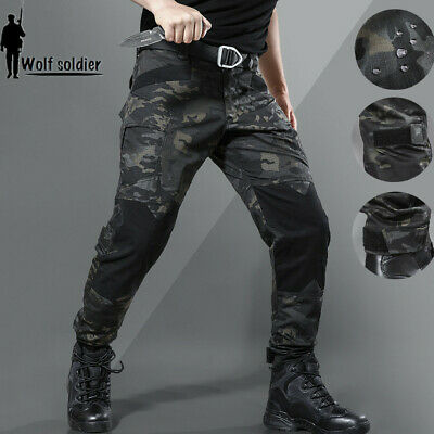 Army Military Pants (Herren Outdoor Tactical Military Army Cargo Hose Combat Pants Schwarz Multicam)