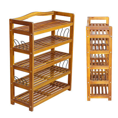 5 Tier Wooden Shoe Storage Shelf Rack Cabinet Stand Organizer Storing Shelves UK
