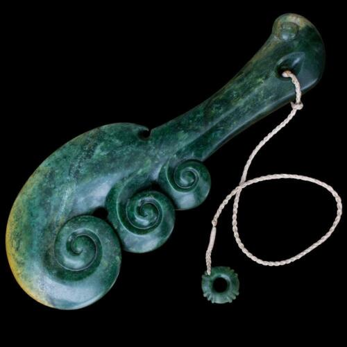 Hand Carved Large Flower Jade Wahaika Club, New Zealand, COLLECTORS PIECE!