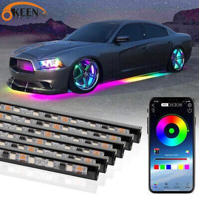 6pcs RGB Dream Color Underglow LED Kit Car Neon Strip Light Music APP Control