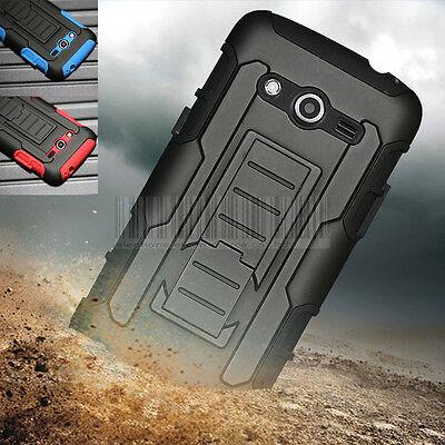 Black Rugged Hybrid Armor Hard Phone Case Holster For Samsung Galaxy Avant G386t