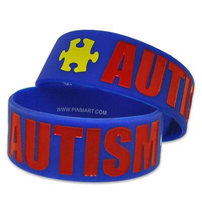 PinMart's Autism Awareness Puzzle Piece Wide Rubber Silicone (Autism Awareness Rubber Bracelet)