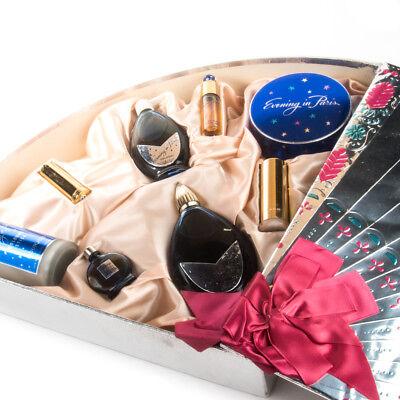 Vintage Bourjois Evening in Paris 8 Piece Gift Set Fan Perfume Parfum Cologne