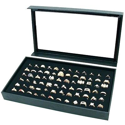 1 Black 72 Ring Display Storage Box Case With Detachable Magnetic Acrylic Lid